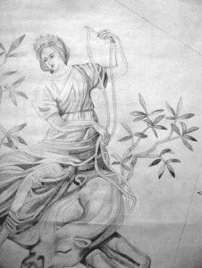 Der nach historischen Fotografien gefertigte Entwurf für das Bildfeld der Temperantia