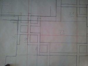 Die Ergänzungen vorderseitig auf Papier gezeichnet