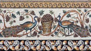 Reproduktion Pfauen  180 x 100 cm, ca. 5. Jhr. n. Chr.