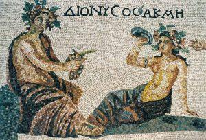Replik des Fußbodenmosaiks Dionysos und Akme Zypern, 2.Jhr. v. Chr.