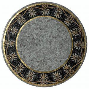 Mosaiktisch, Durchmesser 60 cm, Marmor, Goldmosaik