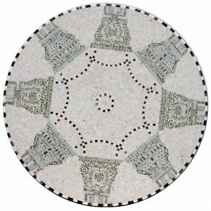 Mosaiktisch, Durchmesser 80 cm, Marmormosaik und Terrazzotechnik