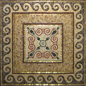 Mosaiktisch, 80x 80 cm, Marmor, Goldmosaik