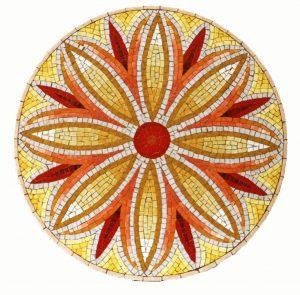 Mosaiktisch, Durchmesser 60 cm, Smalten